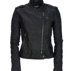 Aeropostale Faux Leather Black Moto Jacket